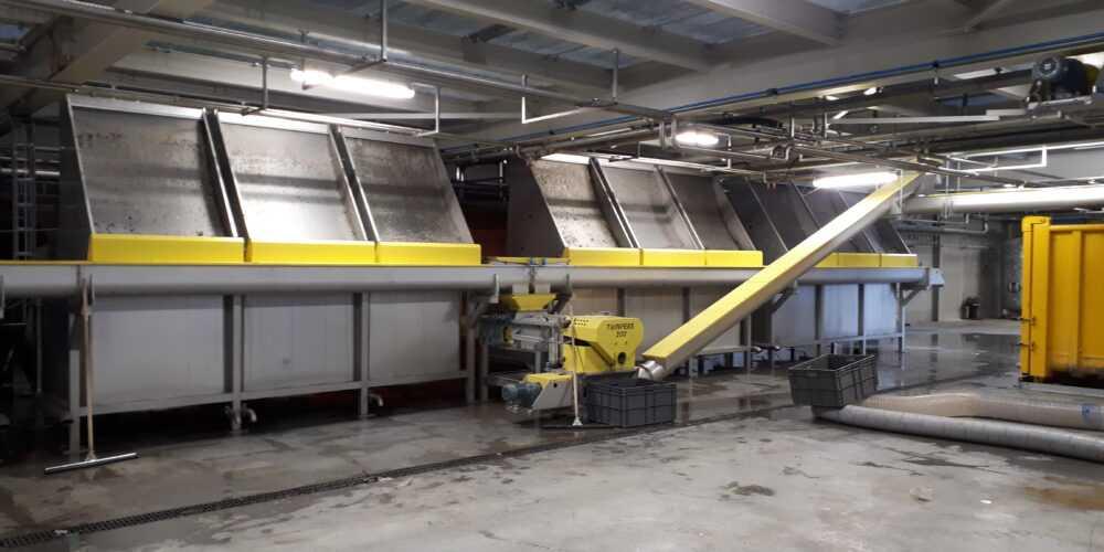 persvijzel installatie met zeefbochtreiniging